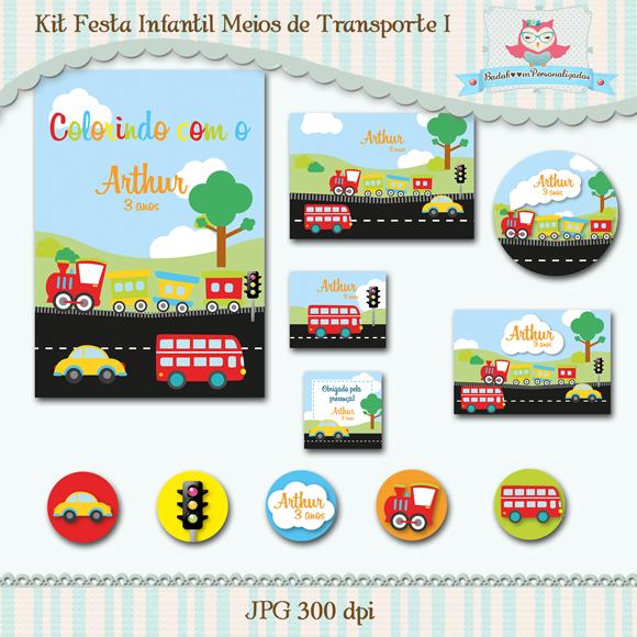 Kit de artes digitais para festa infantil no tema Meios de Transporte Terrestre