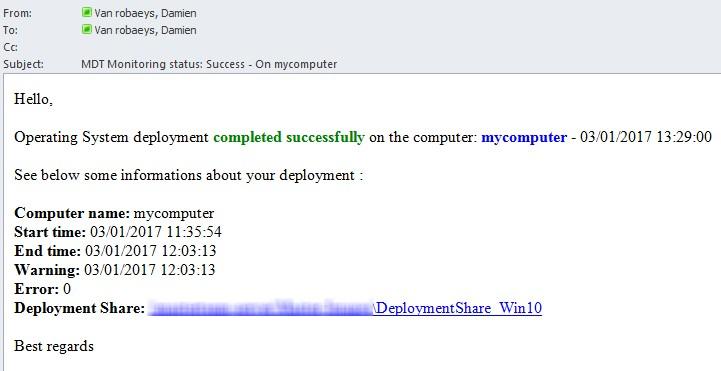MDT Monitoring: Deployment Success/Error Mail notification
