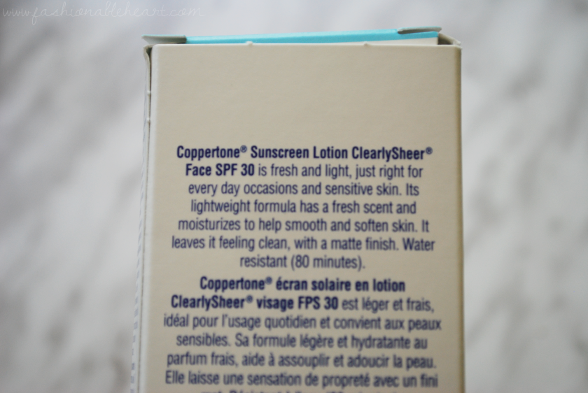 bbloggers, bbloggersca, canadian beauty bloggers, coppertone clearly sheer face, spf, sunscreen, lotion, review, summer, scent, sensitive skin