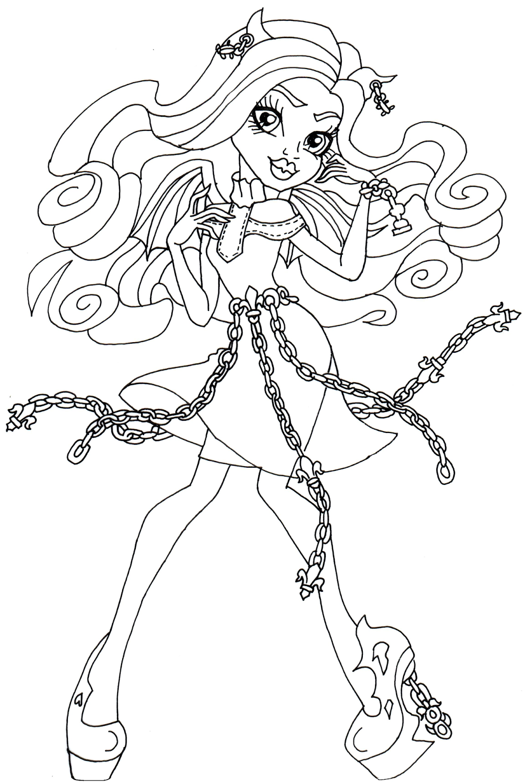 Free printable monster high coloring pages rochelle goyle for Free monster high coloring pages