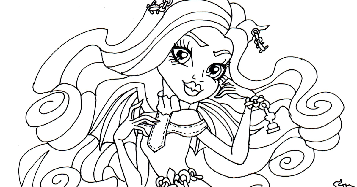 Draculaura Monster high coloring pages for kids, printable free | 630x1200
