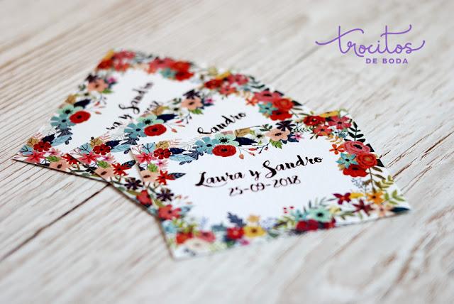 Tarjeta personalizada para alfileres o tarjeta de agradecimiento Modelo Bouquet - Trocitos de Boda