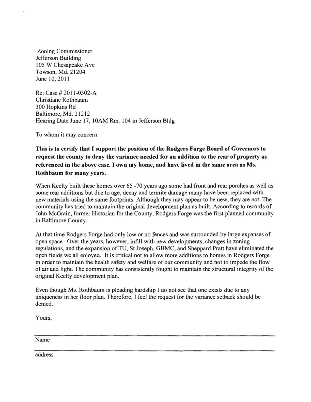 sample letter opposing zoning variance sample business