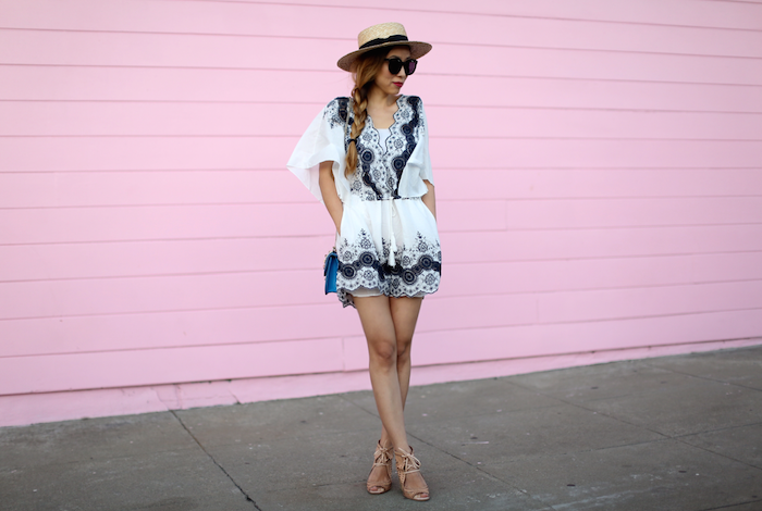chicwish tassel floral romper, lack of color hat, karen walker super dumper sunglasses, jeffrey campbell wedge sandals, valentino lock bag, summer romper, summer outfit ideas
