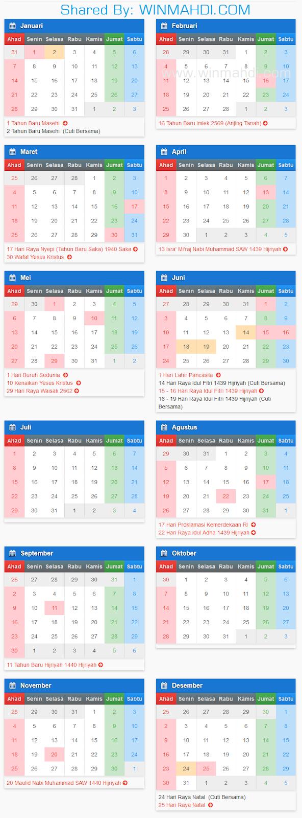 Kalender Masehi 2018 Terbaru
