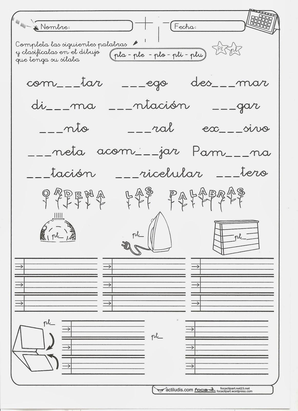 Los Pitufos De Santaella Fichas Para Trabajar Las Silabas