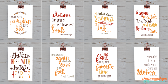 Eight Fall Printable Quotes   Download and print this big bundle of eight autumn printables. 8x10 sizes, ready to print and frame.