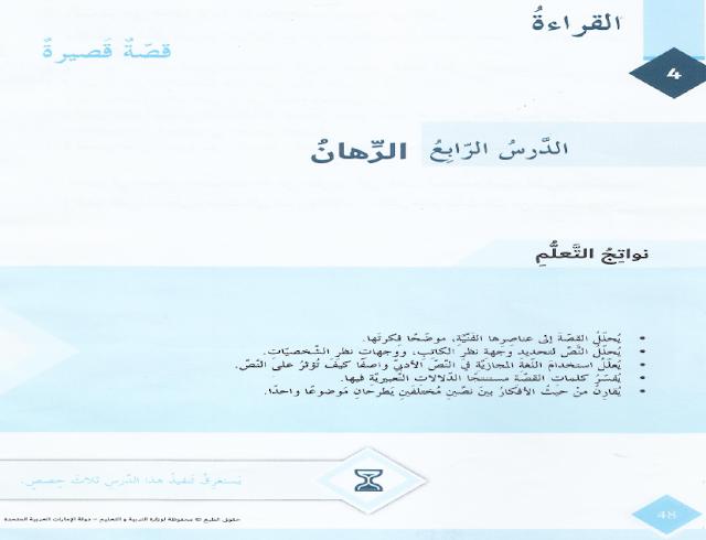 حل درس الرهان في اللغة العربية للصف السابع