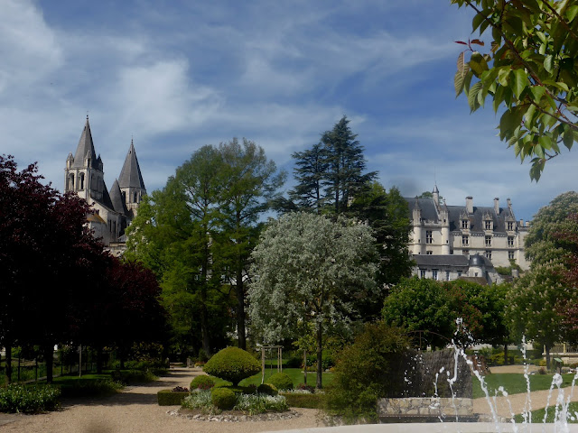 a view of Loches from the public gardens with the chateau and church on the skyline