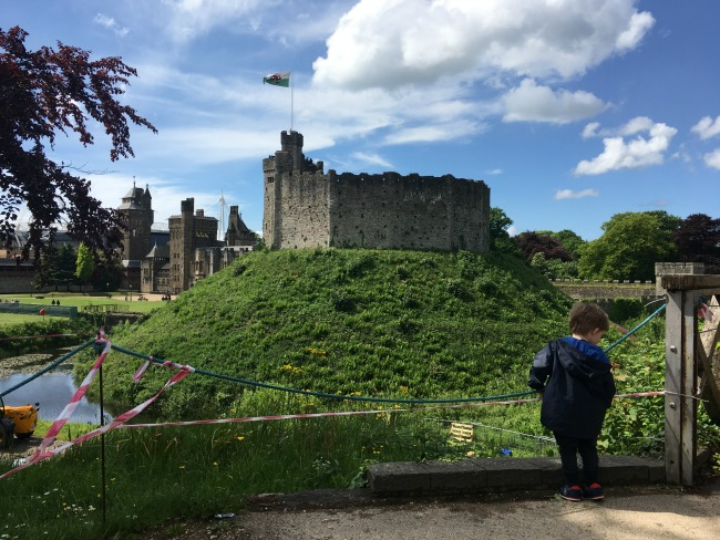 Our-weekly-journal-22nd-may-2017-boy-at-Cardiff-castle-with-keep-in-background