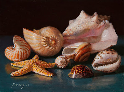 seashells oil painting still life original contemporary class painting a day