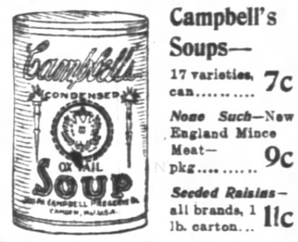 Chicago Daily Tribune (Chicago, IL) Advertisement for Siegel-Cooper & Co. 'The Big Store' with hand drawing of Campbell's Condensed Ox Tail Soup - 1900-10-07