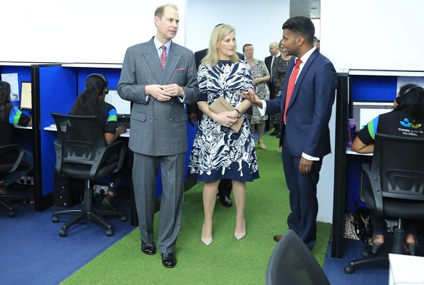 Countess Sophie of Wessex wore Oscar de la Renta navy and white jacquard dress at Third Space Global