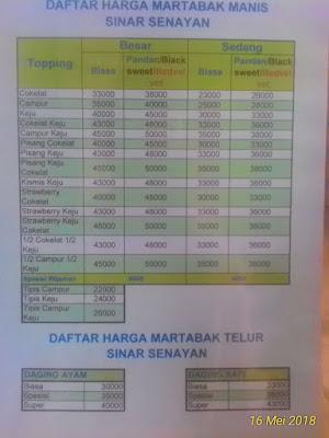 update daftar harga martabak sinar senayan bulan mei 2018