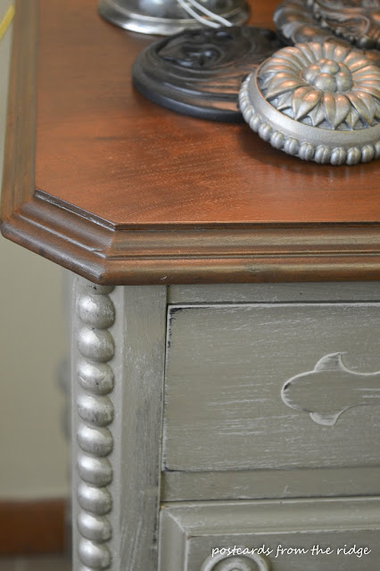 painted antique desk refinished top