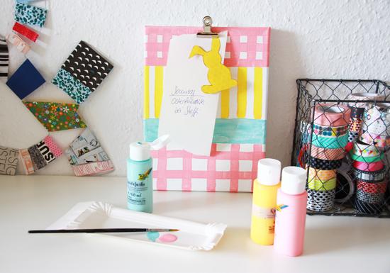 binedoro Blog, DIY, Memoboard, Klemmbrett, Korkpapier, Leinwand, Kreidefarbe