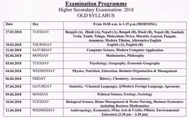 WBCHSE-Higher Secondary (HS) Exam Routine 2018 For OLD Syllabus