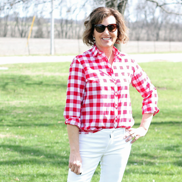 Red and white gingham Archer Shirt by Grainline Studio made with fabric from Indiesew.