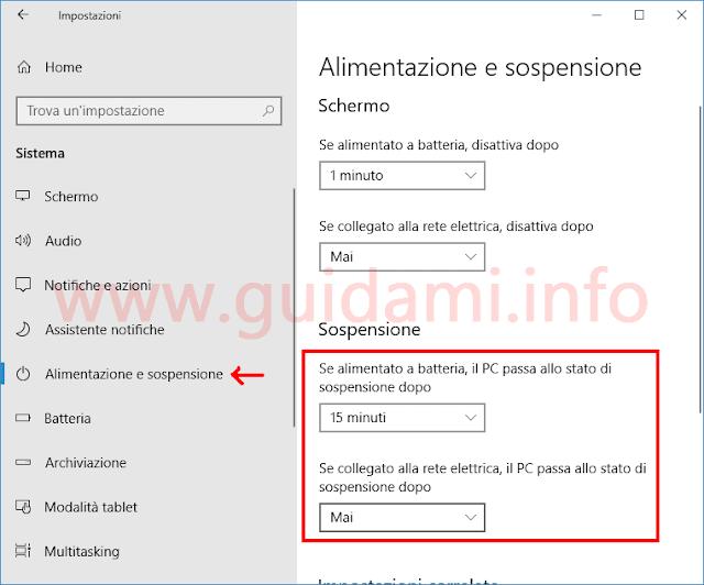 Windows 10 finestra Impostazioni di Alimentazione e sospensione