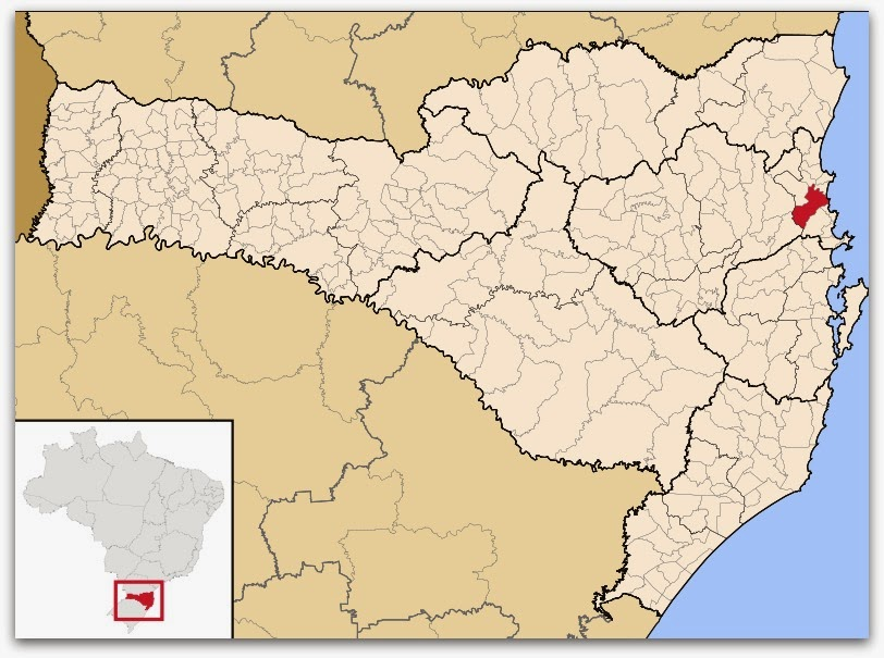 Cidade de Itajaí, no mapa de Santa Catarina