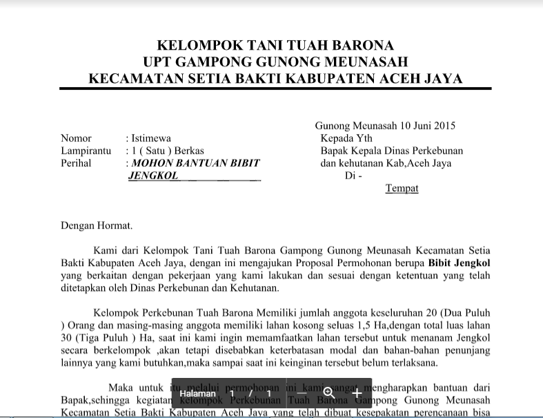 Contoh Surat Permohonan Bantuan Bibit Jengkol Dari Upt Kelompok Tani