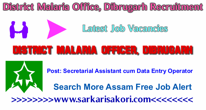 District Malaria Office, Dibrugarh Recruitment 2017 Secretarial Assistant cum Data Entry Operator