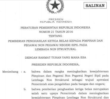gambar PP nomor 21 tahun 2016 tentang gaji ke 13 pimpinan dan Pegawai Non PNS 2016