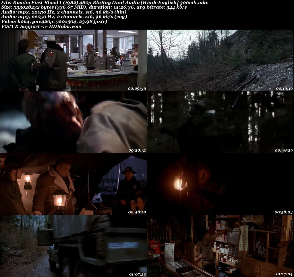 Rambo 1982 Hindi Dual Audio 480p Blu-Ray 300MB Screenshot