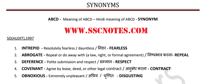 Synonyms Asked in Various SSC Exams Previous Papers Updated CGL 2017 PDF Download