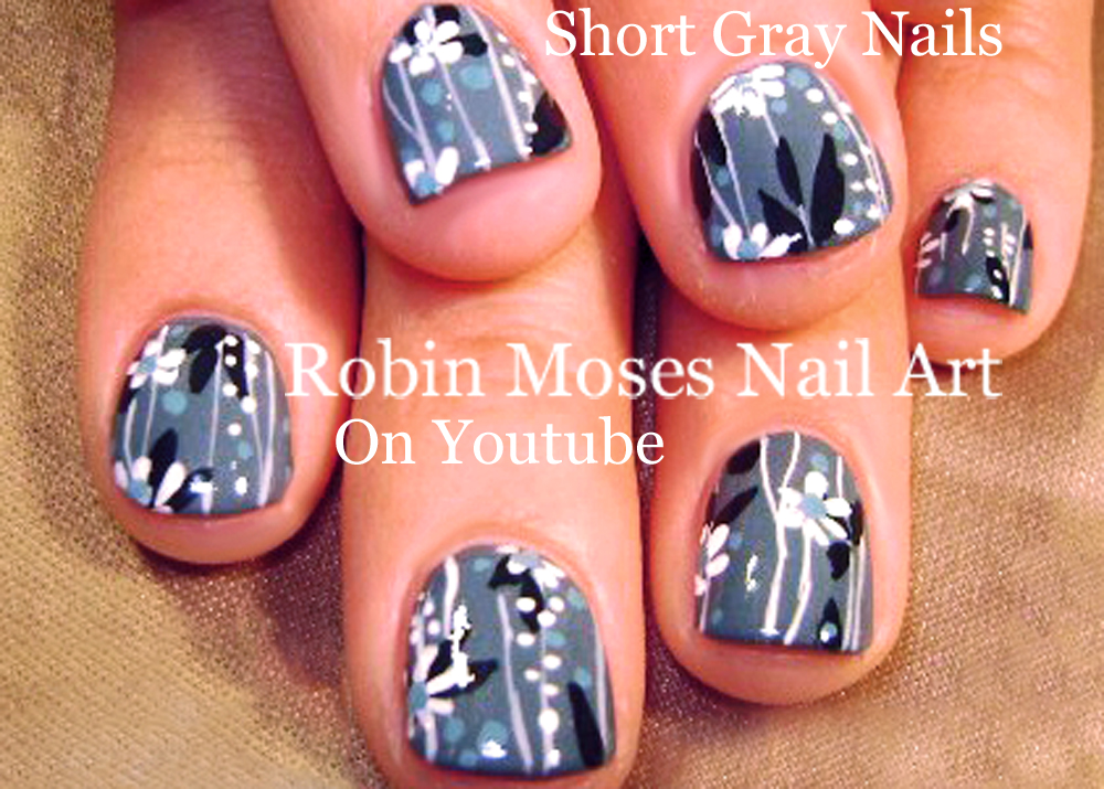 Nail Art By Robin Moses Vintage Grey Nails Black White And Gray