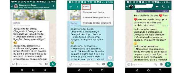 Tutiorial ocultando mensagem encaminhada nos textos do Whatsapp.