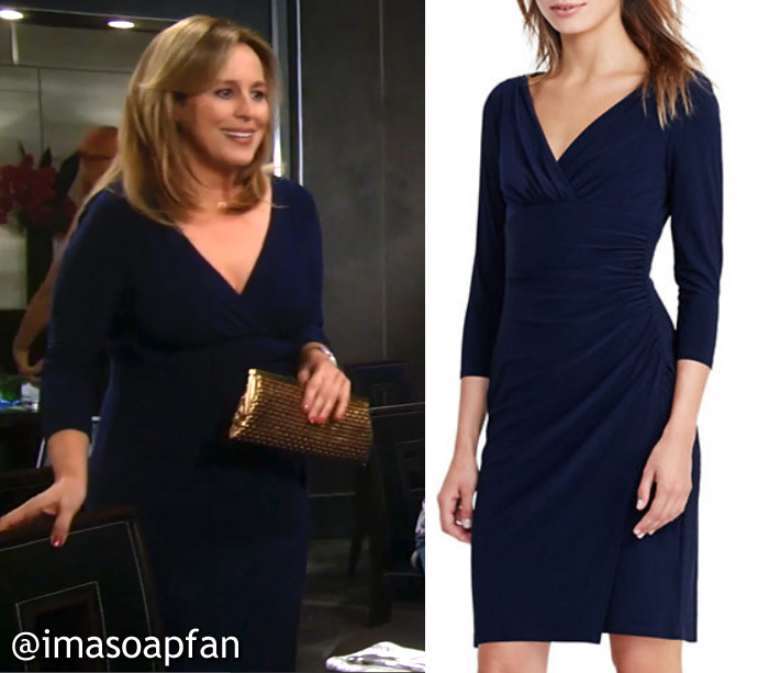 Laura Spencer, Genie Francis, GH, General Hospital, Navy Blue Faux Wrap Dress