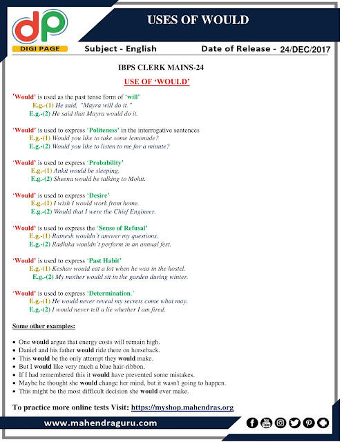 DP | Uses Of Would For IBPS Clerk Mains | 24-12-2017