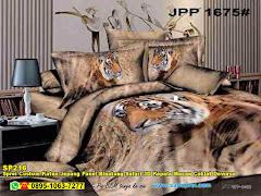 Sprei Custom Katun Jepang Panel Binatang Safari 3D Kepala Macan Coklat Dewasa