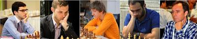 Los ajedrecistas Laurent Fressinet, Daniele Vocaturo, Benjamín Gledura, Karen H. Grigoryan y Rodrigo Vásquez Schroder