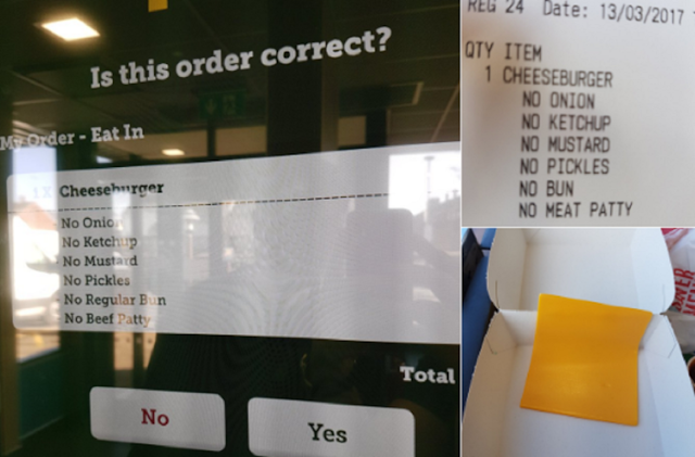 Guy went to McDonald's  just ordering a slice of cheese