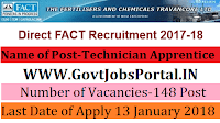 Fertilisers and Chemicals Travancore Limited Recruitment 2018 – 148 Technician Apprentice & Trade Apprentice