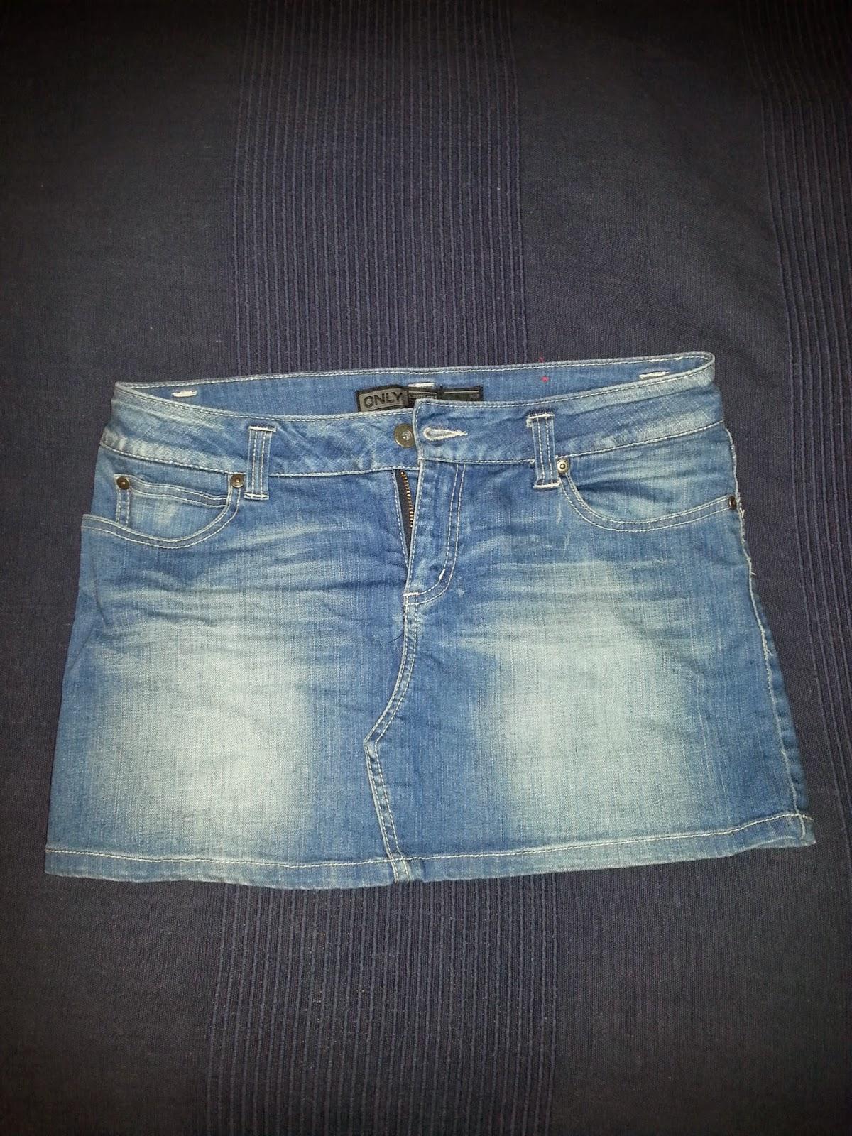 lång jeanskjol only