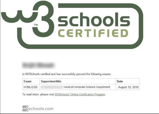 Certificaciones online de W3schools