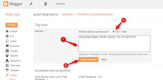 cara merubah kata kunci/deskripsi penelusuran pada artikel blog - blog