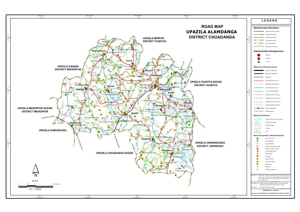 Alamdanga Upazila Road Map Chuadanga District Bangladesh