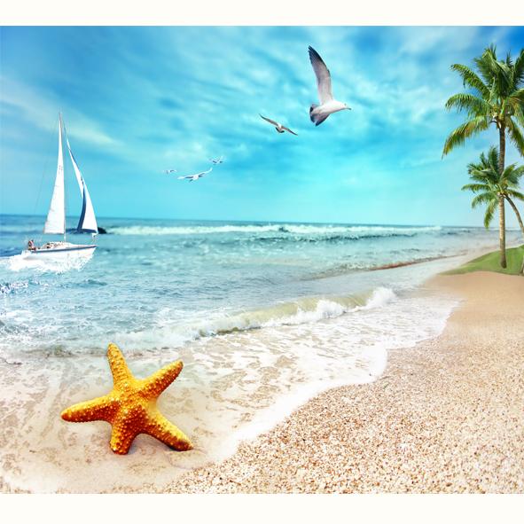 Tranh Bãi biển hàng dừa xanh
