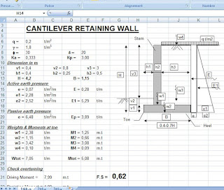 Cantilever Retaining Wall Sheet Excel Civil Engineering