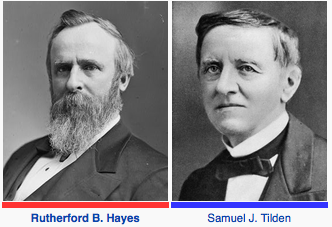 Image result for Rutherford Hayes defeated Samuel Tilden (D)