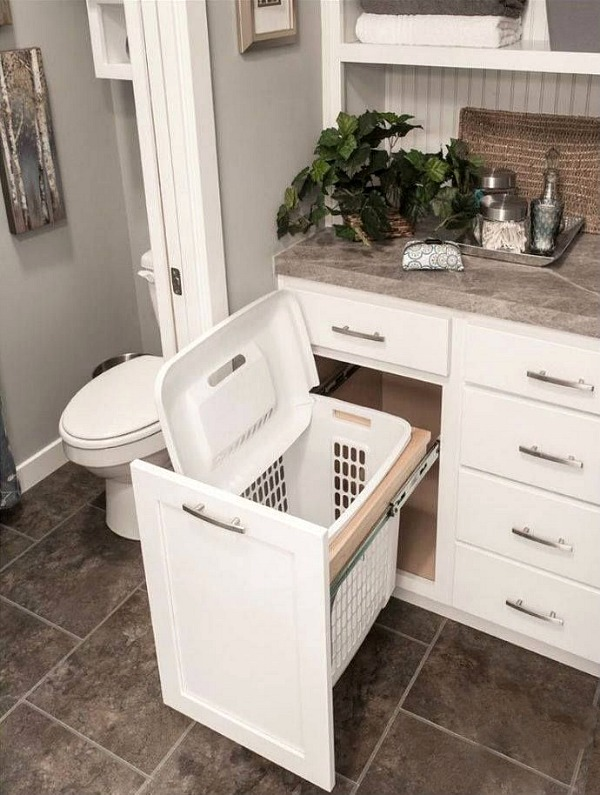 Laundry Basket in Cabinet