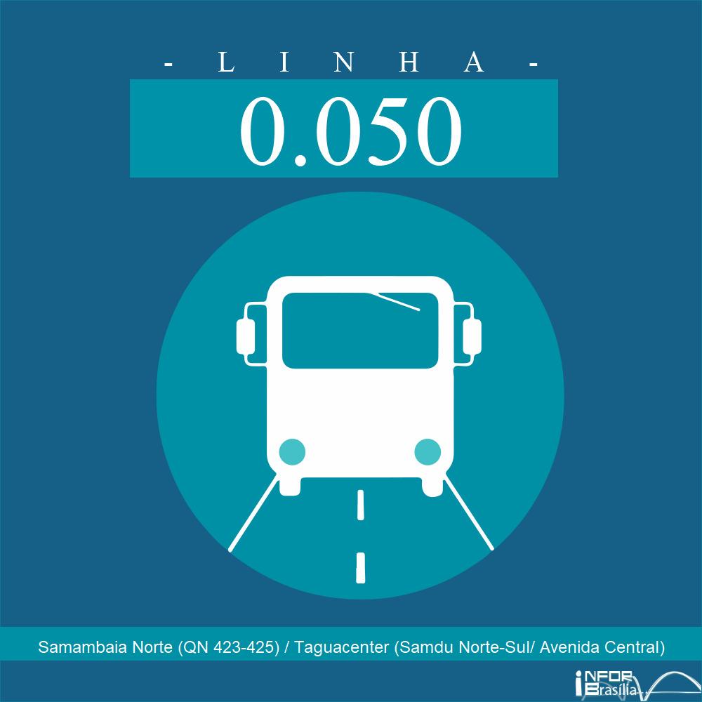 Horário de ônibus e itinerário 0.050 - Samambaia Norte (QN 423-425) / Taguacenter (Samdu Norte-Sul/ Avenida Central)