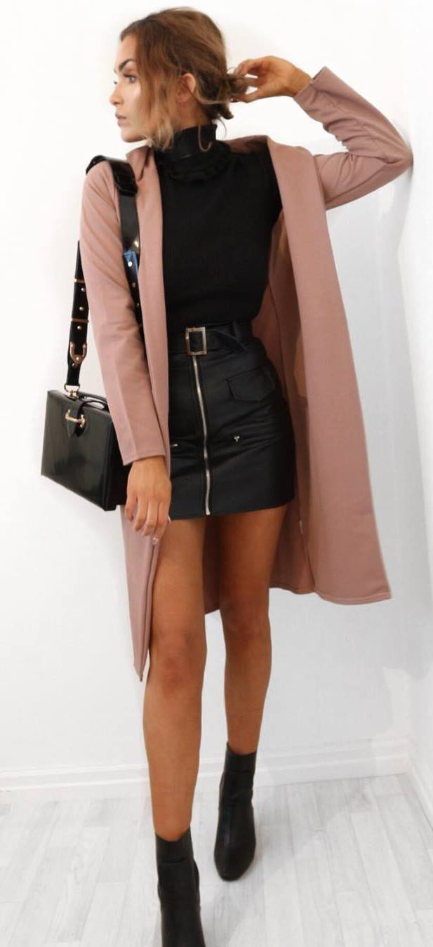 fashion trends: blush coat + tee with a high neck + leather skirt + bag + boots
