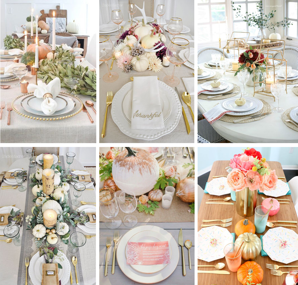 cómo decorar mesa acción de gracias o thanksgiving estilo glamours con toques dorados fácil y económico