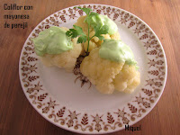 Coliflor con mayonesa de perejil