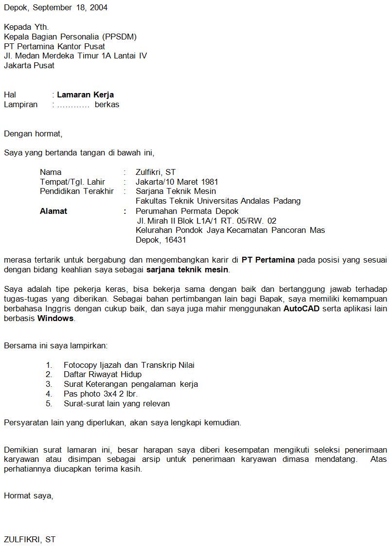 Contoh Surat Lamaran Kerja Untuk Pertamina